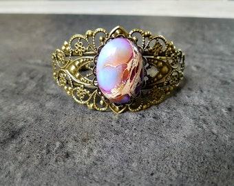 Filigree Cuff Bracelet with semi precious ocean Jasper stone