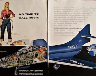 Grumman Aircraft ad.  1955 Grumman F9F-8 Cougar ad. Rosie the Riveter. Grumman F9F-8 Cougar.  Navy F9F-8 Cougar Fighter.  Grumman ad.