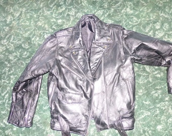 Vintage Black leather jacket, Zipper leather jacket, old leather jacket, Motorcycle Jacket
