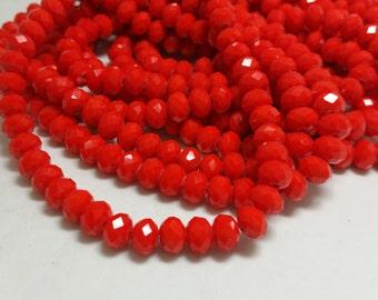 1 Bead Strand - 6x8mm Orangish Red Rondelle Glass Crystal Beads BD0077