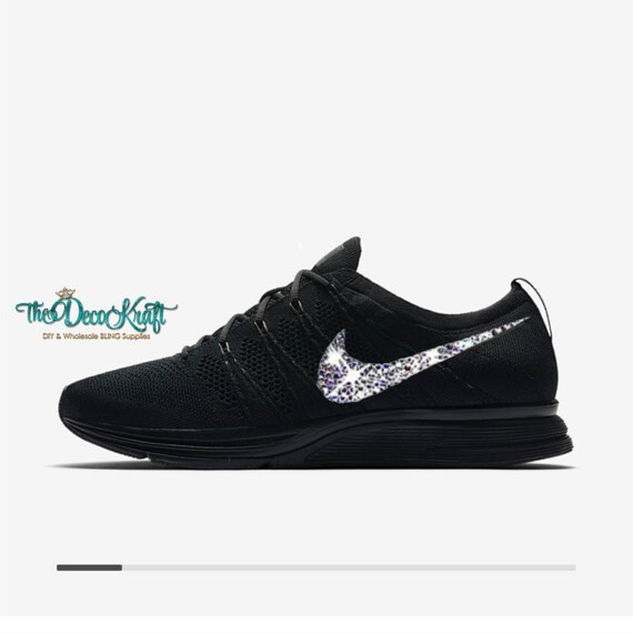 Womens Nike Flyknit Trainer Black/Black/Anthracite Swarovski Crystal Bling  Sneakers, Running Shoes, Tennis Shoes