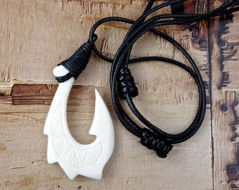 Maori Large Spiked Fish Hook Necklace, Hei Matau, Hand Carved, Lashed, White Bone, Surfer ,  2.4 x 1.2 Inches, Free Shipping