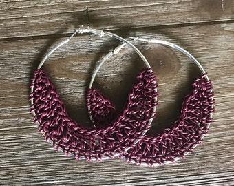 Crocheted Leather Hoop Earrings - Cranberry
