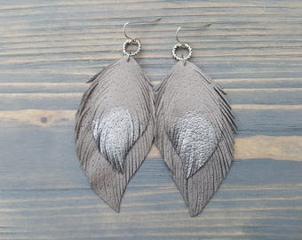 Grey and silver leather earrings. Leather feather earrings. Boho earrings. Bohemian earrings. Light weight earrings. Boho chic jewelry.