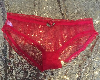 Red frilly sheer hipster panties with rosebud and ribbon size small