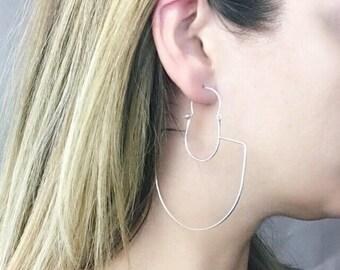 Silver statement earrings Large earrings Art deco earrings Boho earrings Dangle earrings Girlfriend gift for her Bohemian earrings Chareau
