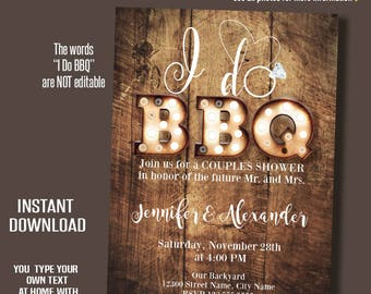 I do bbq Invitation, Rustic wood and lights, Printable wedding templates, Instant Download Self editable PDF file A244