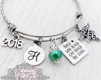 2018 Personalized MA Grad GIFTS, Bangle Bracelet, Reach for the Stars, 2018 Graduate-Jewelry Graduation Gift,College Grad Gift,Graduate-RN