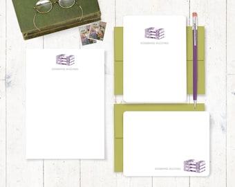 komplette persönlichem Briefpapier set - VINTAGE BOOKS - personalisierte stationär - Grußkarten - Notizblock - Bibliophile Brief Schreibpapier