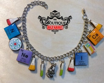 Chemistry Bracelet, great for Chemistry Teachers, Periodic Table of Elements, Erlenmeiyer Flask, Test Tubes, Microscope, Elements, atoms...