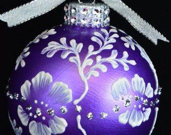 Hand Painted Christmas Ornament Flower Ornament Unique Christmas Gifts Personalized Custom Ornament Holiday ornament  Christmas Ornaments