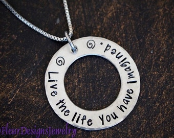 Inspirational Jewelry, Live the Life You Have Imagined-- Hand Stamped Necklace, Thoreau Quote Jewelry, Graduation Gift