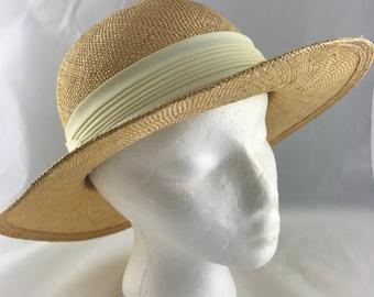 Vintage Sun Hat, Georgi Straw Hat, Georgi Sun Hat, Beach Hat, Wide Brim Hat, Gardening Hat, Garden Party Hat, Hat with Ribbon, Summer Hat