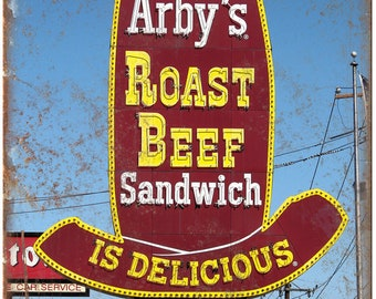 "Arbys Roast Beef Drive Thru Ad 10"" X 7"" Reproduction Metal Sign N157"