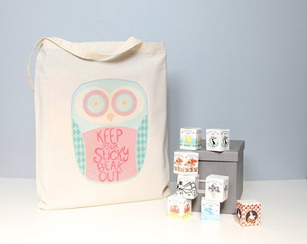 Tote bag, cotton shopper, owl, keep your sticky beak out