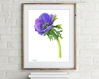 Anemone ORIGINAL Watercolor painting art Lilac Floral Wall Decor Wind Flower artwork Anemone