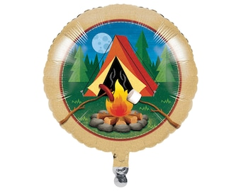 Camping Party Balloon - Camping Birthday Decorations - Camper Party - Hunting Birthday - Smores Birthday - Campout - Camp Party Supplies