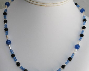 Blue Onyx and Black Onyx Gemstone Necklace