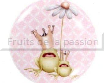 1 round cabochon 30 mm, frog, animals, pink