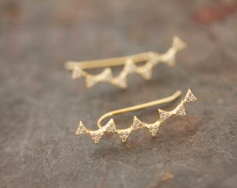Pave' triangle ear climbers in gold