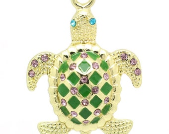 Deluxe Turtle Charm, Gold Plated with Rhinestones (1R-53)