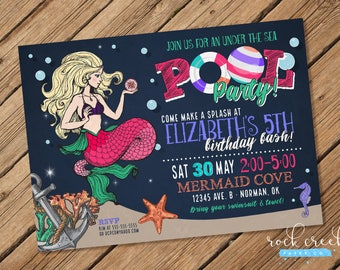 Mermaid Pool Party Invitation, Under the Sea Party, Mermaid Invitation, Mermaid Party, Printable Birthday Party Invitation
