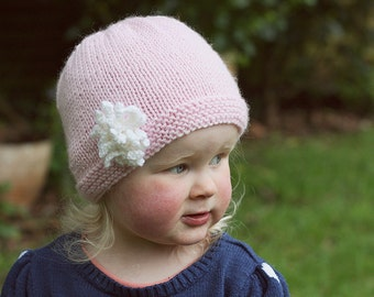 Baby Hat Pattern, PDF Knitting Pattern, Baby Girl Hat Pattern, Easy Knit Baby Hat, Baby Hat Knitting Pattern, Hat Pattern for Baby - AMELIA