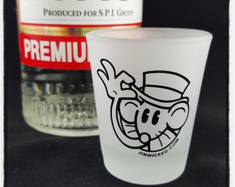 1.75 oz Frosted Glass Shotglass HAPPY RAT LOGO Jin Wicked Tipping Top Hat