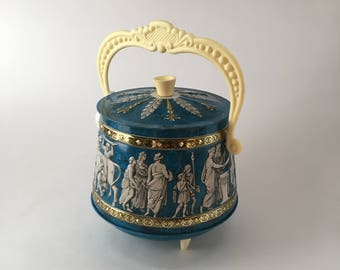 Vintage Tin with Grecian scene, Celluloid Feet, Knob and Handle