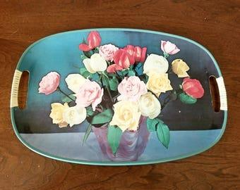 Mid Century serving tray retro flowers