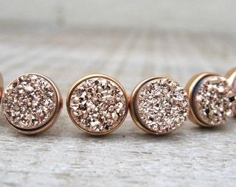 Rose gold druzy stud set, Bridesmaids gift, bridesmaid jewelry, druzy earrings, set of earrings, rose gold earrings, raw stone earrings