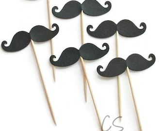 Black Moustache Cupcake Toppers, Food Picks-or Choose Your Colors