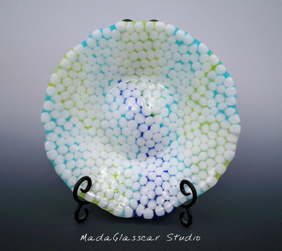 Hail Storm Fused Glass Bowl
