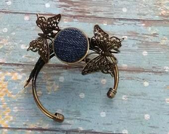 Denim Butterfly Bracelet