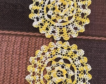 Yellow and White Crochet Doily