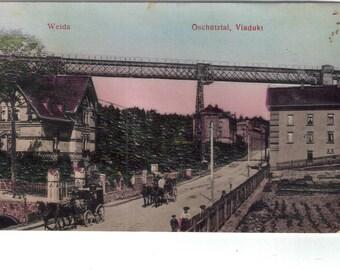 Weida, Oschutztal, Viadukt (train bridge), antique postcard, Germany