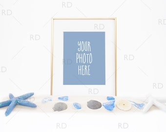 Seashells and Sand Frame Mockup / Styled Stock Photography / Styled Photo for Blog Website / Beach Frame Mockup / Seashells and Sea Glass
