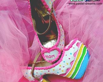 Birthday rainbow cake shoes  custom made heels shoes one of the kind, party kei, Kawaii,cute,harajuku,alternative,pinup,mother's day