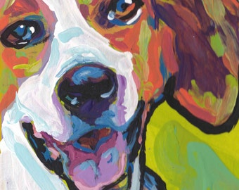 American Foxhound art print of pop art dog painting by LEA bright colors 12x12
