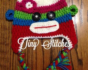 Colorful sock monkey hat