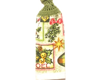 Christmas Hand Towel With Tea Leaf Crocheted Top