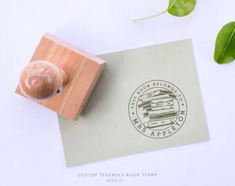 This Book Belongs To TEACHER'S STAMP - Custom Name Stamp, Typography Rubber Stamp, TEACHER'S Books