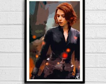 Black Widow Marvel Avengers Illustration 1, Movie Pop Art, Film Home Decor, Superhero Poster, Comic Book Print Canvas