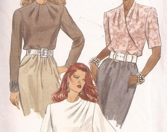 ON SALE 90's Sewing Pattern - Vogue 8539 Collarless blouse high neckline Size 6-10 Factory folded and complete