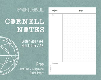 Printable Cornell Notes Template Planner Inserts Letter Size A4 Half Letter A5 Planner Refills Dot Paper Graph Paper