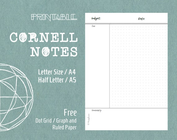Printable Cornell Notes Template Planner Inserts Letter Size