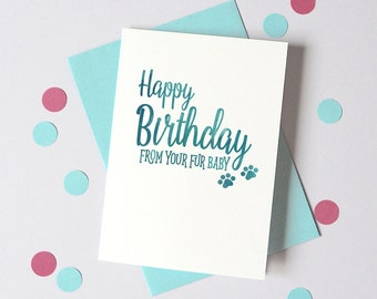 Birthday card from Dog Cat – Personalised Christmas Fur Baby Card – Card for wife husband from pet - dog christmas card