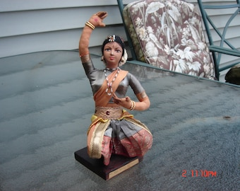 PRICE REDUCTION- Vintage Bharat Natyam Indian Dancer Cloth Silk Figurine Doll - Rare Unique and Beautiful