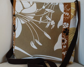 Handbag bag with shoulder strap fabric upholstery taupe/Tan/white