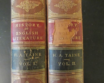 The History of English Literature, by H.A. Taine D.C.L London, 1878. Vintage , Collectable. Book